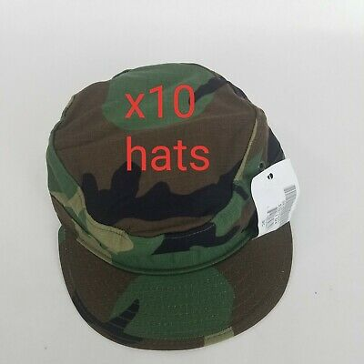 10 new US Military Issue Army Woodland Camouflage BDU Patrol Cap Hat Size 7