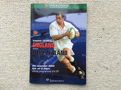 An England v New Zealand Rugby Programme from 9th November 2002 at Twickenham