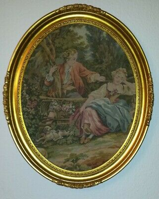 antikes Gobelin Stickbild mit Rahmen antiqueTapestry embroidery picture in frame