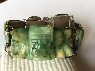 Rare Exceptional Antique 1930's Sterling Silver Fine Carved Jade Bracelet Mexico