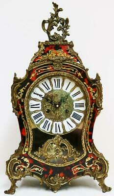Vintage German Boulle Inlaid Mantel Clock, Red Shell & Bronze Bracket Clock