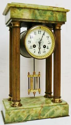 Antique French Empire Style 8 Day Striking Onyx & Brass Portico Mantel Clock