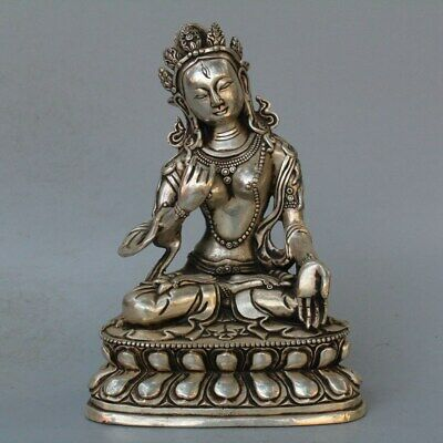 Tibet Collectable Handwork Old Miao Silver Carve Lotus Buddha Auspicious Statue