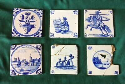 Antique Delft Tiles, 6 various scenes