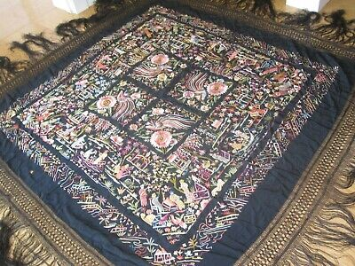 Absolutely Stunning Antique Canton Chinese Silk Hand Embroidered Piano Shawl