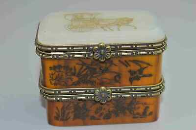 China Collectable Handwork Agate Carve Beauty Flower Bird Auspicious Jewelry Box