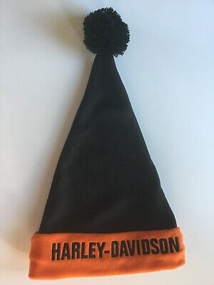 HARLEY DAVIDSON Winter Hat Santa Stocking Cap Classic Black & Orange Fleece hat