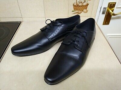 Capsule Mens Black Leather Lace Up Formal Work Shoes Size 13 Extra Wide