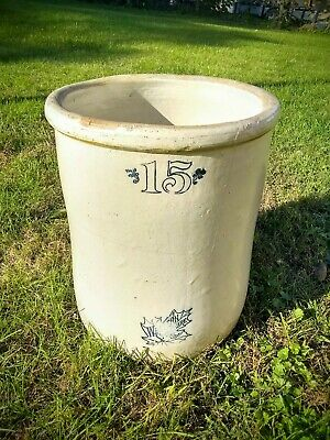 Antique Western Stoneware Co. 15 Gallon Crock. Monmouth Illinois. Maple Leaf