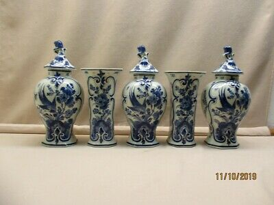 Delft blue hand painted set of 5 antique vases marked Porceleyne Fles year 1915.