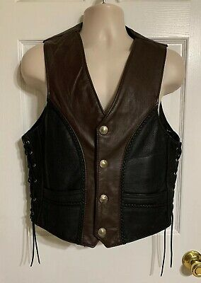 Fox Creek Leather Motorcycle Buffalo Nickel Leather Vest USA Made Size 48