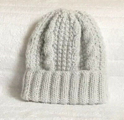 Brand New Hand Knitted Pale Grey/Twinkle Hat Baby Boy 0-3 Months, Free Postage.