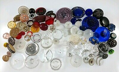 Antique Glass Button Collection Lot Blue Ivory White Clr Victorian Old Ceramic