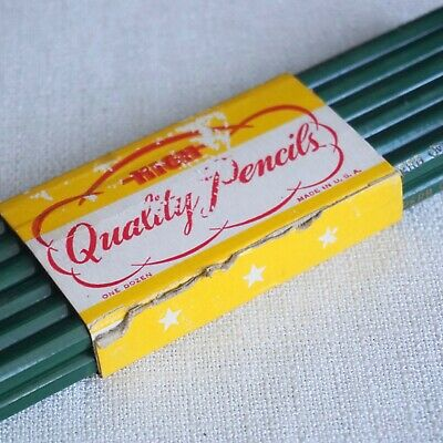 """Vintage National Pencil Co. National's """"Fuse-Tex"""" Collectible Wood Pencils Green"""