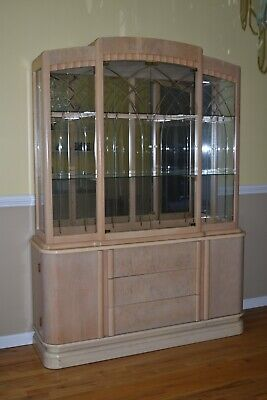 China Cabinet With Matching Buffet - Blonde Wood Finish - 7' High - 5' Wide