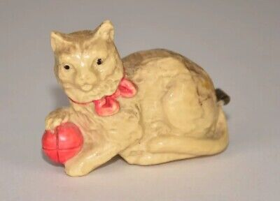 """Antique Celluloid Cat With Ball Figural Tape Measure - German - 2-1/4""""L"""