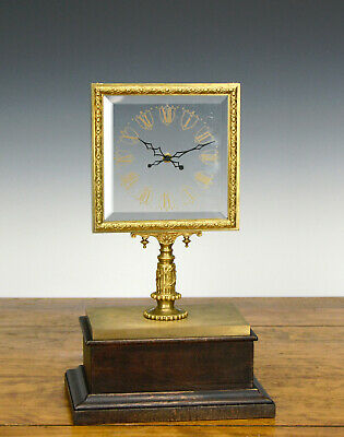 Antique French Robert Houdin Fifth Series Square Glass Dial Mystery Mantle Clock