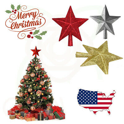 Glitter Star Christmas Xmas Tree Topper Decoration Xmas TreeTop Glitter Ornament
