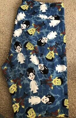 LULAROE HALLOWEEN TC LEGGINGS BRIDE OF FRANKENSTEIN BLUE RARE Worn Once! UNICORN