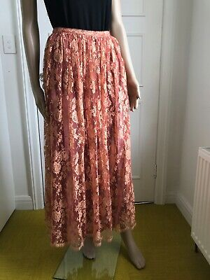 Vintage Krizia peach long lace skirt. 1970s.