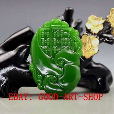 Chinese Natural Green Hetian Jade Hand-carved Ruyi Pendant G52