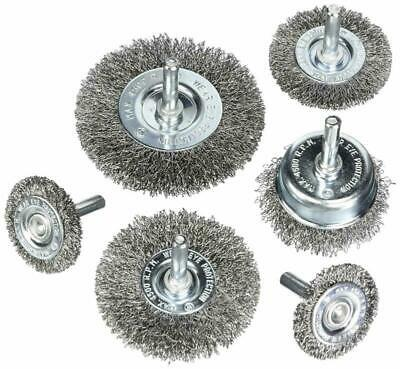Hoyin 6Piece Wire Wheel Cup Brush Set|0.0118In Coarse Crimped Carbon Steel|1/4In