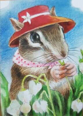 ORIGINAL ACEO Painting Art Card Collect HBD Gift Squirrel Chipmunk