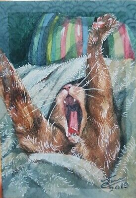 Original ACEO Watercolor Painting Art Bedroom Bed Gift Card Cat
