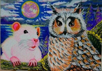 ORIGINAL ACEO Painting Art Gift Collect Card Wild Mouse Owl Night Moon Halloween