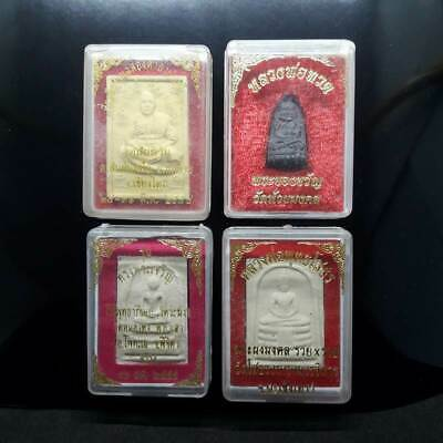 THAILAND! SET OF 4 TEMPLE BOXS Lp Thuad, Somdej, Sothorn Thai Buddha Amulet