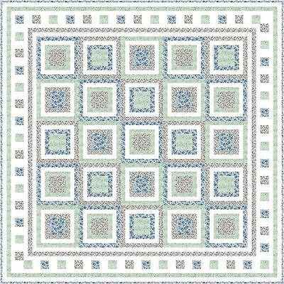 """BLOOMING FIELDS - 67"""" - Quilt-Addicts Pre-cut Patchwork Quilt Kit Double"""