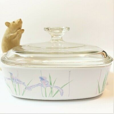 Corning Ware Shadow Iris Square Casserole Dish with Pyrex Lid,  A-1-B  1 Litre