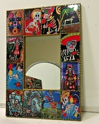 "Mexican Day of the Dead Mirror Wood Frame 15.75"" Catrina High Gloss Sugar Skull"