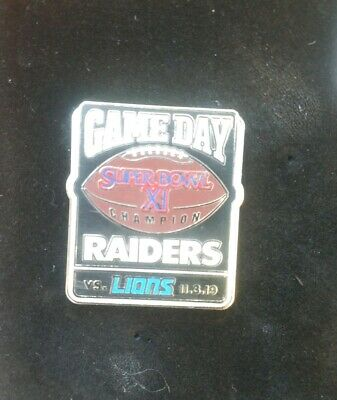 NFL Official Oakland Raiders Game Day Exclusive Pin vs Detroit Lions 11/3/2019