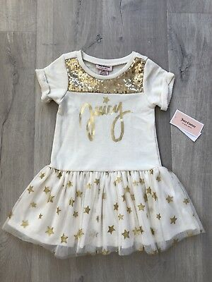 [BNWT] Juicy Couture White Cream Gold Drop-waist Dress Girl Size 4T