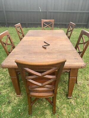 Antique Orginal Joseph Fitter Extension Table With X6 Chairs