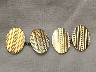 Art Deco 9ct Gold On Silver Large Oval Cufflinks 1920s to 1930s Good Condition