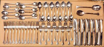 63 Pieces Reed & Barton French Chippendale Pattern Silverplate Service for 12