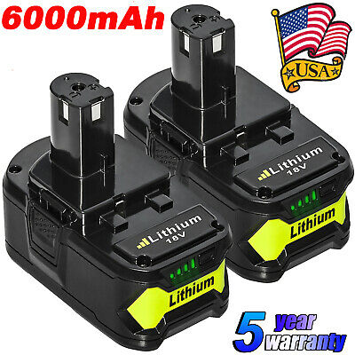 2XFor Ryobi P108 18V 6.0Ah Lithium Ion ONE Battery P109 P197 P122 P105 P103 P102