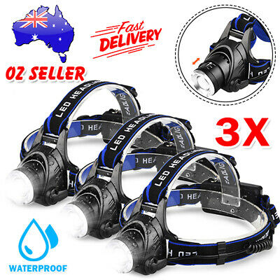 3X LED Torch Headlamp lights Rechargeable Head Torch CREE 21000LM XML T6 Camp