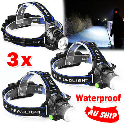 3X Rechargeable Head Torch Light LED Headlamp CREE 21000LM XML T6 Adjustable