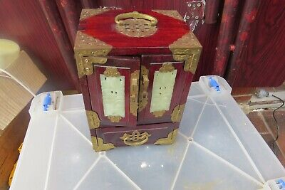 vintage Chinese Oriental  jewellery  Box  Jade Wood Brass  Chest  draws
