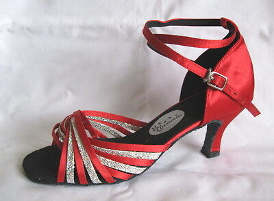 Ladies Red/Silver Ballroom, Latin, Salsa, Tango Dance Shoes - UK Size 3.5 or 7.5