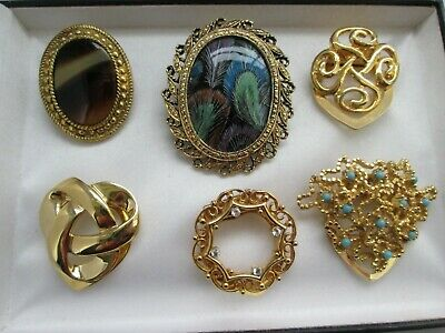 Vintage Job Lot x6 Gold Tone Metal Turquoise Clear Rhinestone Scarf Clips x6
