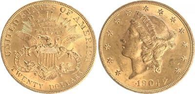 USA 20 Dollar Gold Double Eagle 1904 Extremely Fine