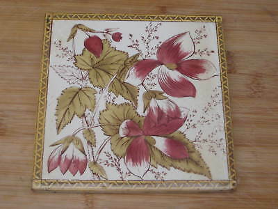 pilkington FLOWER LEAVES EDWARDIAN period TILE