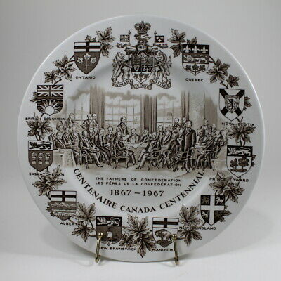 Vtg. Woods & Sons Canada Centennial Collector Plate Alpine White Ironstone 1967
