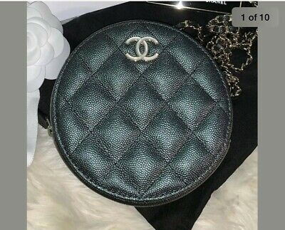 AUTHENTIC CHANEL ROUND CLUTCH WITH CHAIN 19S Iridecent Black Pearl CC