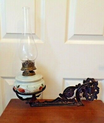 Antique Oil Lamp with wrought iron wall bracket./Sconce & fittings Albion Burner