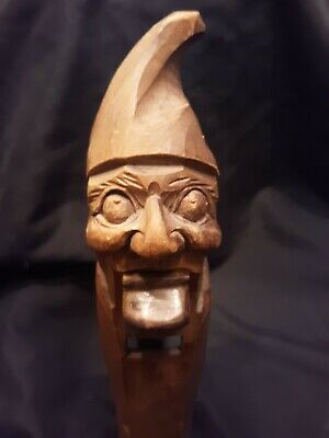 "C.1920 Black Forest Gnome 11"" Bavarian Carved Wood Nutcracker Nussnacker GERMANY"